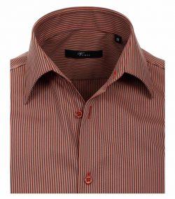 001590-450-Overhemden-Venti-modern-fit-bruin-rood-gestrept-zwart-overhemd-100%-katoen-strijkvrij