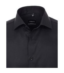 001880-800 venti zwart overhemd modern fit pasvorm en strijkvrij kent kraag enkel manchetten