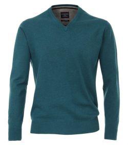 004130-185 casa moda trui petrol groen kleur v-hals