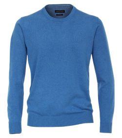 004420-101 trui-Casa-Moda-blauw-100%-katoen-pullover-pima ronde hals