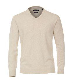 004430-009 beige pullover crème kleurig trui v-hals