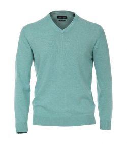 004430-308 licht groen pullover luxe trui v -hals kraag pima katoen regular fit