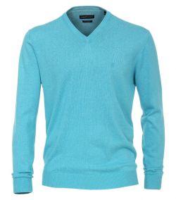 004430-357 casa moda pullover trui v hals aqua licht blauw
