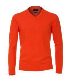 004430-450 casa moda oranje rood trui pullover pima katoen v-hals