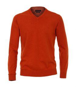 004430-482 casa moda brick oranje pullover v hals 100% pima katoen