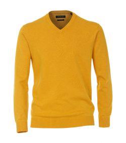 004430-556 casa moda oker geel pullover v hals regular fit pima katoen