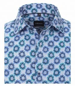 103366300-100 venti blauw all over print overhemd modern fit