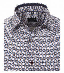 103367100-200 venti bruin blauw print overhemd modern fit