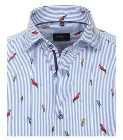 103369000-100 venti lichtblauw gestreept met papegaai print modern fit