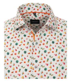 103370100-300 venti print overhemd groente en fruit print modern fit
