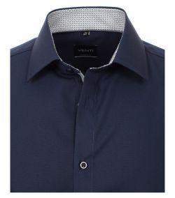 103412600-116 Venti navy donkerblauw overhemd strijkvrij kent kraag enkel manchetten business chique trendy en modern donker blauwe overhemd