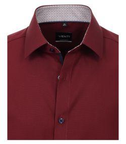 103412600-416 Venti bordeaux donker rood overhemd met donker blauwe details strijkvrij 100% katoen kent kraag