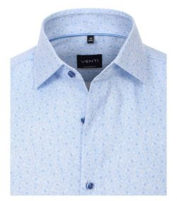 103413000-100 Venti lichtblauw fris print overhemd kent kraag modern fit