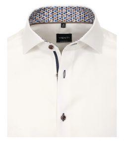 113602400-001 Venti wit wafel structuur strijkvrij overhemd luxe modern fit pasvorm en bruine knopen
