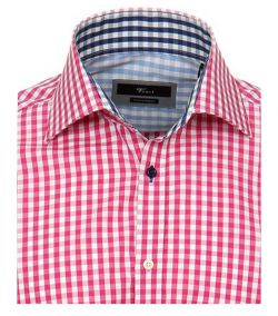 131703200-401 Overhemden-Venti-modern-fit-ruiten-roze-wit-overhemd-100%-katoen-strijkvrij