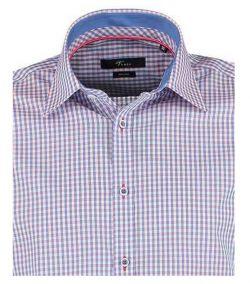 141980500-400-Overhemden-Venti-modern-fit-blauw-wit-rood-geruit-overhemd-100%-katoen-strijkvrij