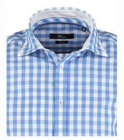 141981000-100 Overhemden-Venti-modern-fit-licht-blauw-wit-geruit-overhemd-100%-katoen-strijkvrij - kopie