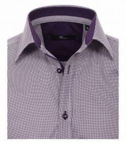 142091700-950 Overhemden-Venti-modern-fit-geruit-paars-wit-overhemd-100%-katoen-strijkvrij