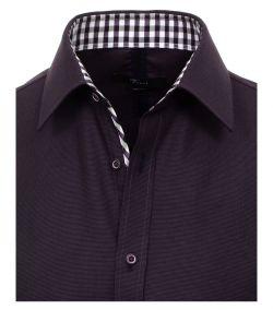 142091800-950 Overhemden-Venti-modern-fit-geruit-paars-wit-overhemd-100%-katoen-strijkvrij