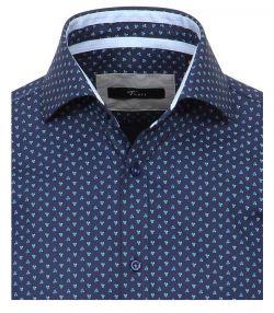 152238400-100 venti luxe overhemd blauw patroon
