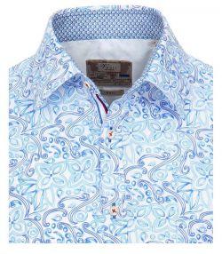 152248000-100 Overhemden-Venti-modern-fit-extravagant-lichtblauw-wit-overhemd-100%-katoen-strijkvrij