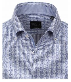 162421800-100 Overhemden Venti modern fit gestrept cirkels blauw wit overhemd 100% katoen strijkvrij