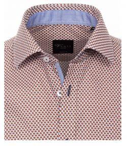 162421900-200 Overhemden Venti modern fit blauw bruin brick punten stippen bolletjes overhemd 100% katoen