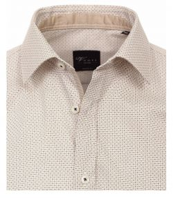 162422700-200-Overhemden-Venti-modern-fit-geruit-blokjes-stippen-punten-licht-bruin-creme-overhemd-100%-katoen-strijkvrij