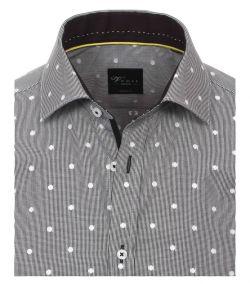 162425500-750-Overhemden-Venti-modern-fit-geruit-grijs-zwart-punten-stippen-wit-overhemd-100%-katoen-strijkvrij