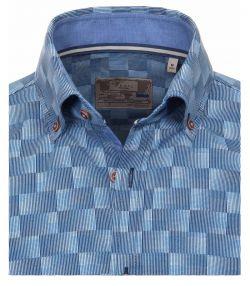 162502900-100-Overhemden-Venti-modern-fit-blokjes-donker-licht-blauw-overhemd-100%-katoen-strijkvrij