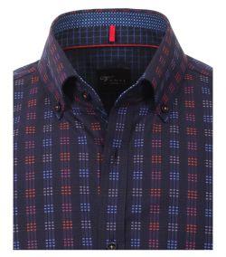 162543900-100-Overhemden-Venti-modern-fit-geruit-blokjes-donker-licht-blauw-paars-roze-rood-overhemd-100%-katoen-strijkvrij