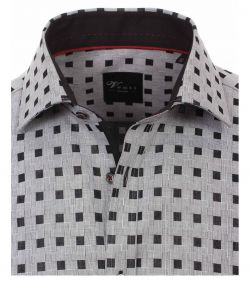 162561400-750-Overhemden-Venti-modern-fit-geruit-blokjes-grijs-zwart-overhemd-100%-katoen