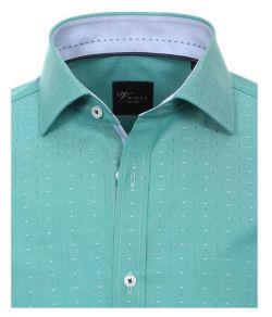 162566000-301 Overhemden-Venti-modern-fit-stippen-groen-mint-wit-overhemd-100%-katoen