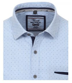 162609500-104 Overhemden-Venti-modern-fit-stippen-gestrept-blauw-wit--borstzak-overhemd-100%-katoen