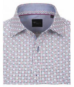 172661300-100 Overhemden-Venti-modern-fit-rood-bordeaux-licht-donker-blauw-wit-blokjes-overhemd-100%-katoen