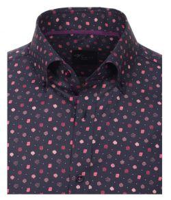 Overhemden-Venti-modern-fit-bloemen-rozen-navy-rood-roze-paars-blauw-overhemd-100%-katoen