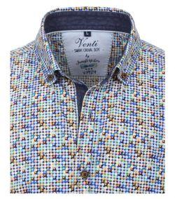 172679500-303 Overhemden-Venti-modern-fit-punten-zwart-oranje-groen-blauw-wit-overhemd-100%-katoen-button down kraag