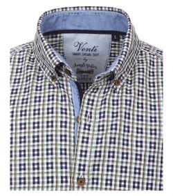 172681500-301-Overhemden-Venti-modern-fit-geruit-blauw-groen-wit-overhemd-100%-katoen-button down kraag