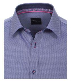 172810900-100 Overhemden-Venti-modern-fit-blauw-punten-gestrept-overhemd-100%-katoen