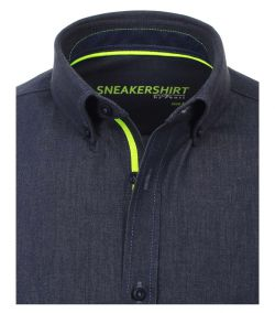 172824900-100 Overhemden-Venti-modern-fit-blauw-neon-geel-groen-sneakershirt-88% katoen 12% stretch