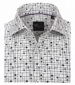 182909400-800 Overhemden-Venti-modern-fit-wit-zwart-punten-gestrept-geruit-overhemd-100%-katoen