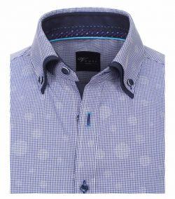 182910700-100 Overhemden-Venti-modern-fit-blauw-wit-punten-cirkels-geruit-overhemd-100%-katoen