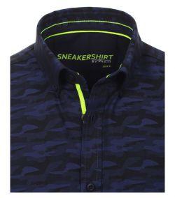 182921900-100 Overhemden-Venti-modern-fit-donker-blauw-sneakershirt-camouflage-overhemd-100%-katoen
