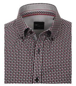 183030700-400 Overhemden-Venti-modern-fit-zwart-grijs-rood-geruit-blokjes-overhemd-100%-katoen-button down