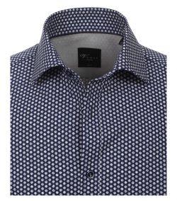 183030900-100 Overhemden-Venti-modern-fit-donker-blauw-wit-punten-overhemd-100%-katoen