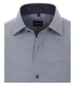 183055300-101 Overhemden-Venti-modern-fit-stippen-punten-donker-blauw-wit-overhemd-100%-katoen-strijkvrij