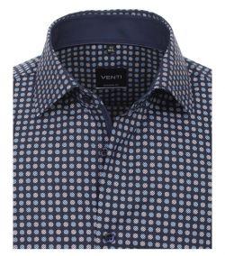 193134900-100 Overhemden-Venti-modern-fit-donker-licht-blauw-grijs-punten-overhemd-100%-katoen