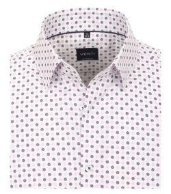 193135400-400 Overhemden-Venti-modern-fit-wit-grijs-licht-roze-punten-overhemd-100%-katoen-button down