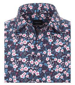 193148900-350 Overhemden-Venti-modern-fit-blauw-roze-bloemen-overhemd-100%-katoen