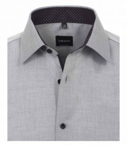 193157700-705 Overhemden-Venti-modern-fit-stippen-punten-zwart-licht-grijs-wit-overhemd-100%-katoen-strijkvrij